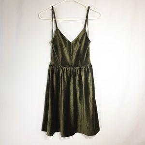Spaghetti Strap Olive Green Corduroy Dress - S